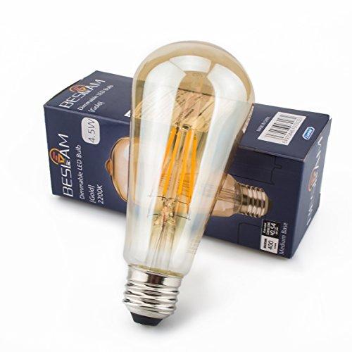 LEDフィラメント電球 金色タイプ アンバーガラス 40W相当 ST64 エジソンランプ フィラメント型 口金 E26 茶色電球 雰囲気良い光(2200K復古色) おしゃれ LED 節電 調光器対応可 レトロ電球 全方向360°発光 (1個入り)