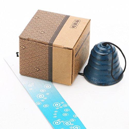 南部鉄器 風鈴 (波紋) ブルー ふうりん 釣鐘 ギフト プレゼント 贈り物 雑貨 おみやげ (短冊付き)