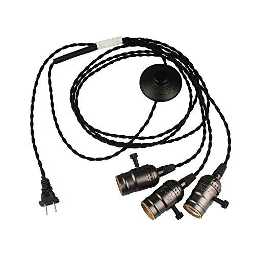 B2ocled LEDペンダントライト ソケット 1灯 コンセント式 工事不要 オシャレ レトロ 調光スイッチ付き E26/ E27(3灯濃いグレー4m)