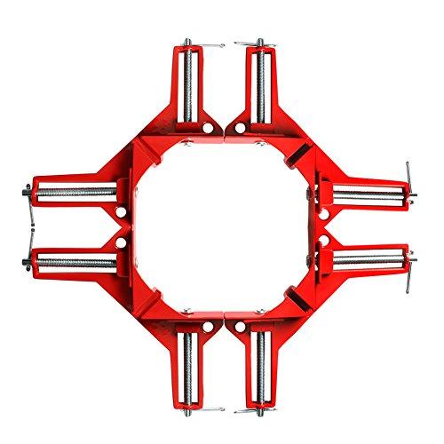 コーナー クランプ 4個 セット 90° 直角 木工定規 直角定規 直角クランプ DIY 工具 クランプ (赤 4個)