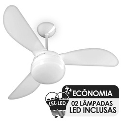 Ventilador de Teto Ventisol Fenix Branco 3 Pás, Cv3, 02 Lâmpadas Led Inclusas - 127V