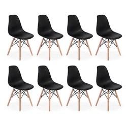 Conjunto 8 Cadeiras Charles Eames Eiffel Wood Base Madeira - Preta