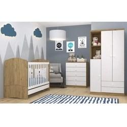 Quarto Infantil com Guarda Roupa 3 Portas Cômoda e Berço 3 em 1 Lápis de Cor Siena Móveis Branco/Rústico