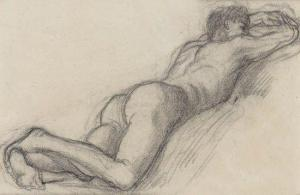 man laying on stomach nude