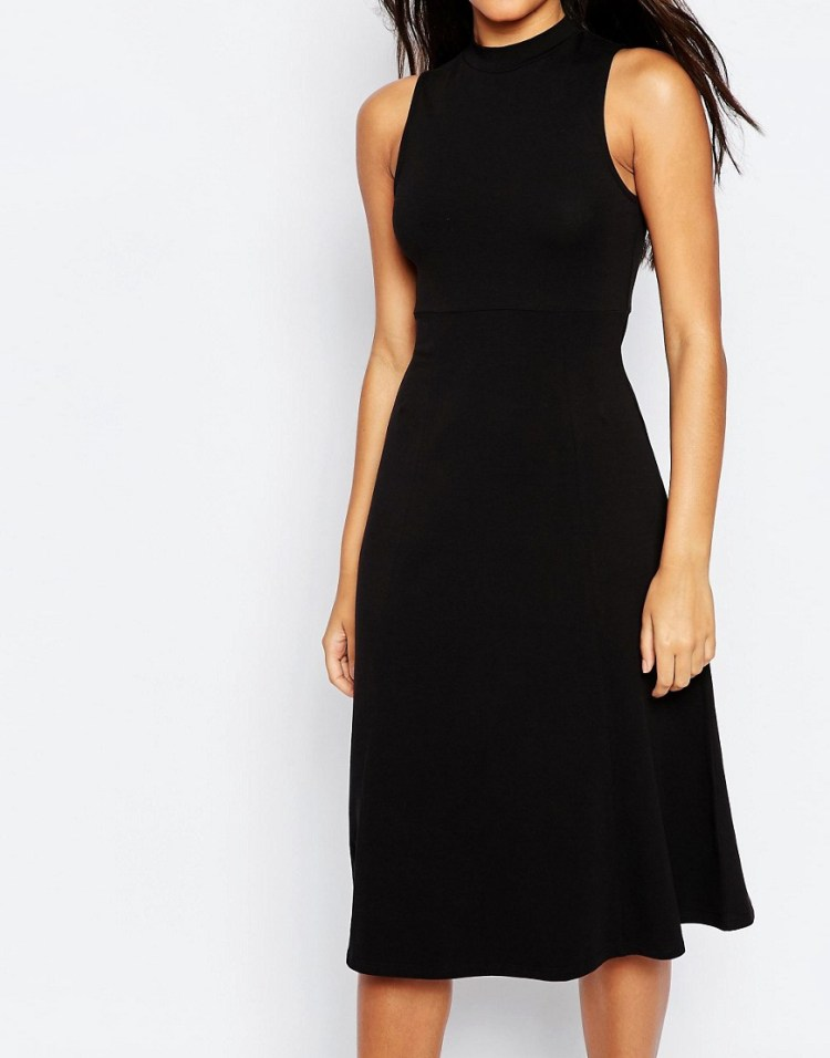 Image 3 of ASOS Midi Skater Dress With High Neck
