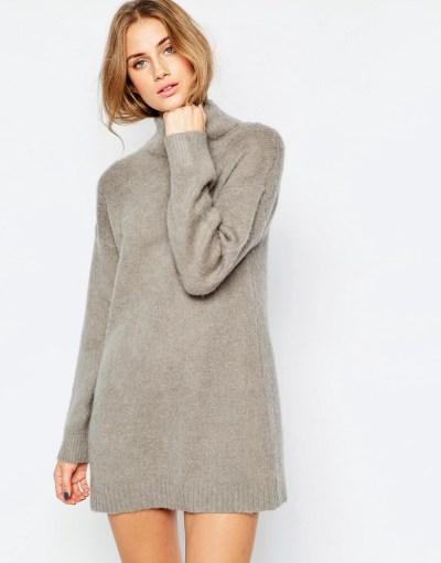 Image 1 - ASOS - Robe pull en maille brossée avec laine d'alpaga