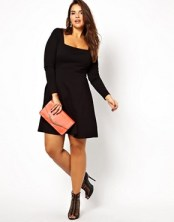 Image 4 ofASOS CURVE Exclusive Skater Dress With Square Neck
