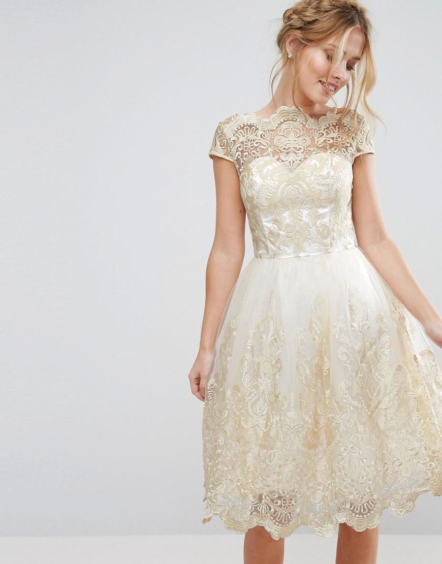 s style wedding dresses midi wedding dress s Style Wedding Dresses Chi Chi London Premium Metallic Lace Midi Prom Dress with Bardot Neck