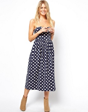 Image 1 of ASOS Midi Bandeau Skater Dress in Spot Print