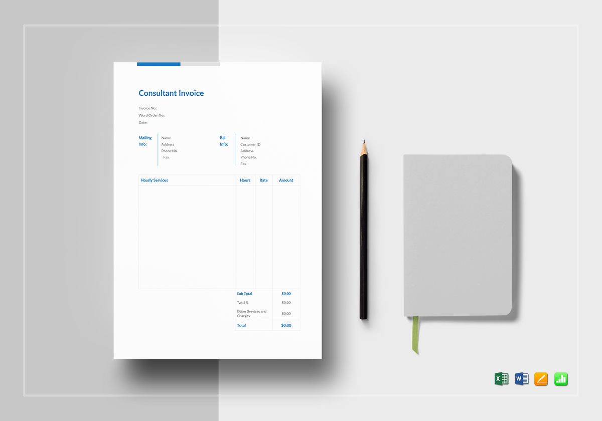 Consultant Invoice Template in Word  Excel  Apple Pages  Numbers Consultant Invoice Template
