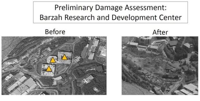 El Departamento de Defensa de Estados Unidos mostró las imágenes de tres centros sirios de producción de armas químicas. El antes y el después de esos edificios tras el ataque con misiles. AFP
