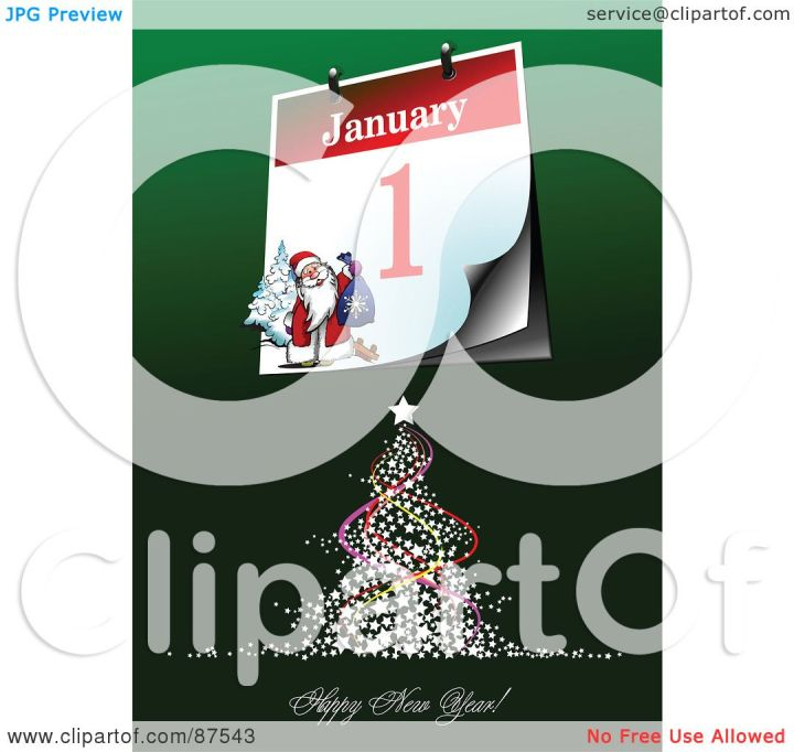 RF Clipart Illustration Of A Tree With A Happy New Year Greeting. 1080 x 1024.Happy New Year Greeting Samples For Bus