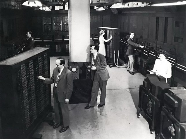 Public Unveiling of ENIAC - http://www.computerhistory.org/timeline/1946/#169ebbe2ad45559efbc6eb3572043c44