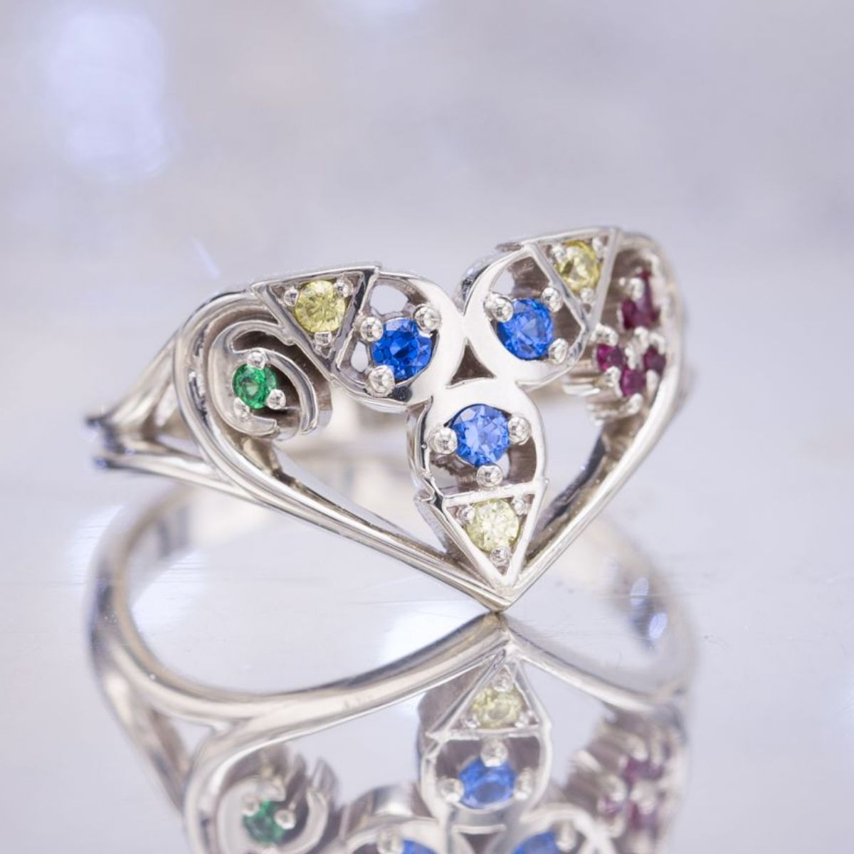Considerable Bright Gem Colors Make This A Engagement Blending Geeky Engagement Rings Nerdy Wedding Bands Curves Spiritual Stones From Legend wedding rings Nerdy Engagement Rings