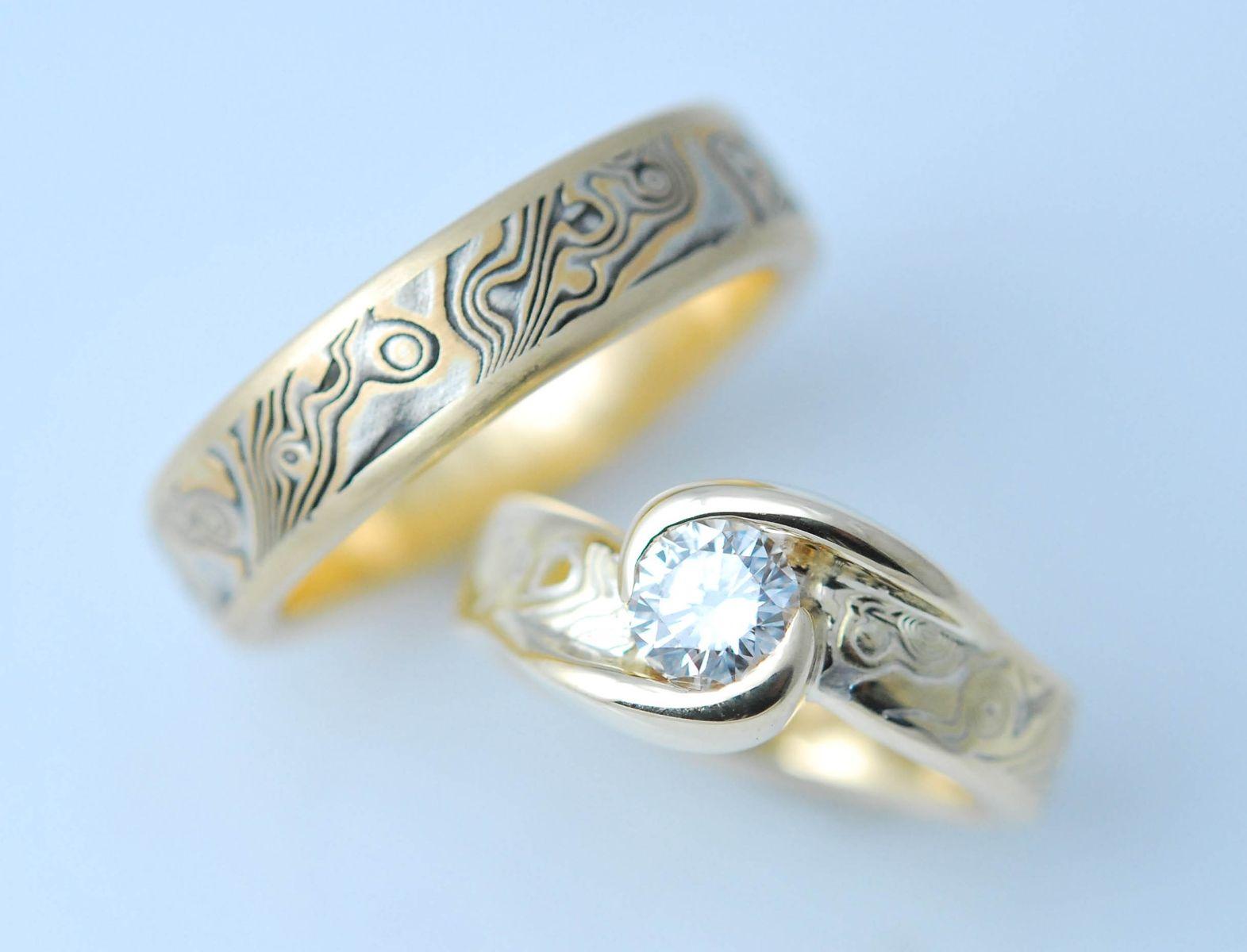 mokume gane wedding rings mokume gane wedding bands Mokume gane wedding rings Custom Made Custom Mokume Gane Two Ring Wedding Set