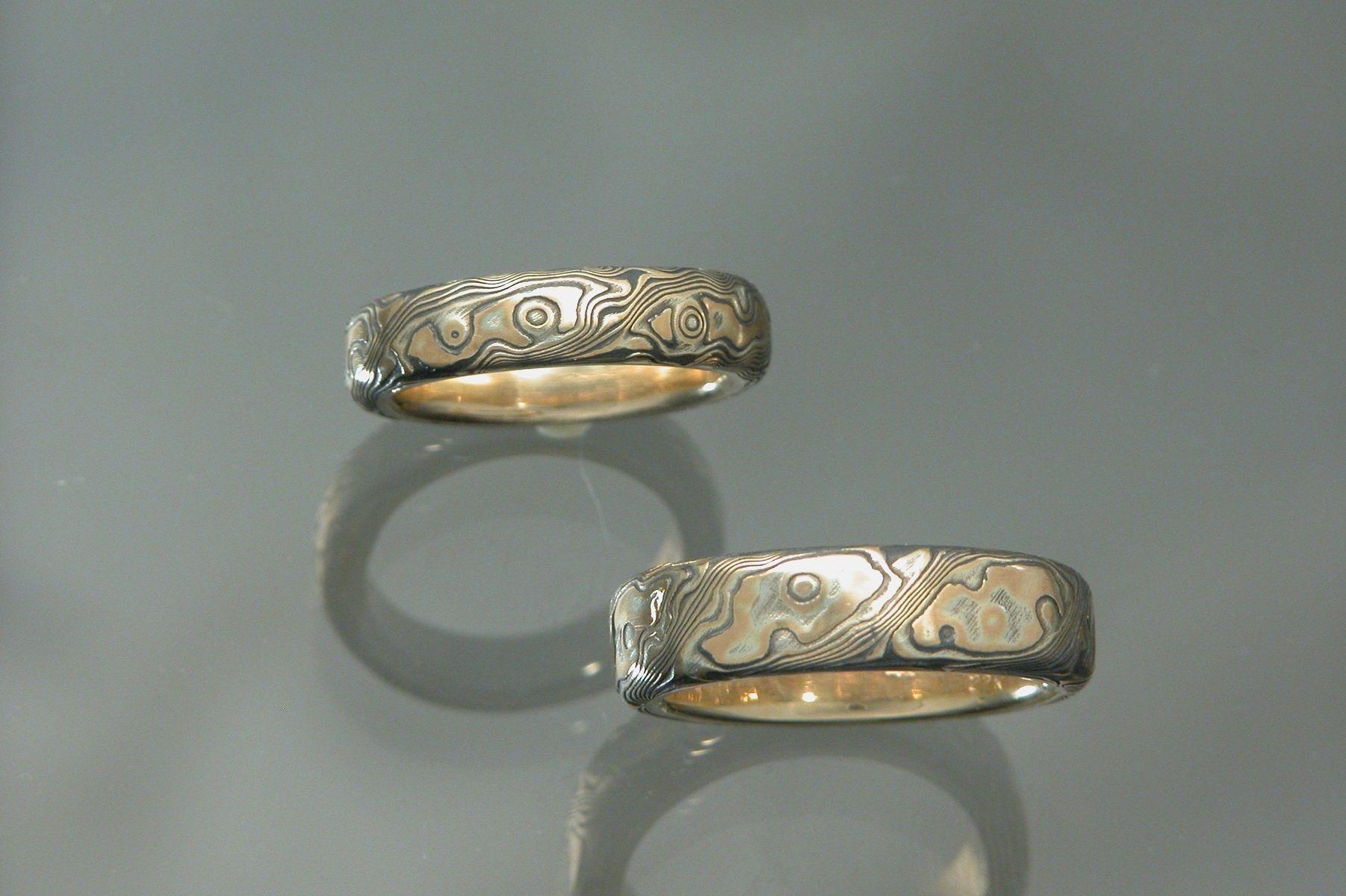 mokume gane wedding rings mokume gane wedding bands Mokume gane wedding rings 18k Yellow Gold With Sterling Silver Mokume Gane Wedding Bands