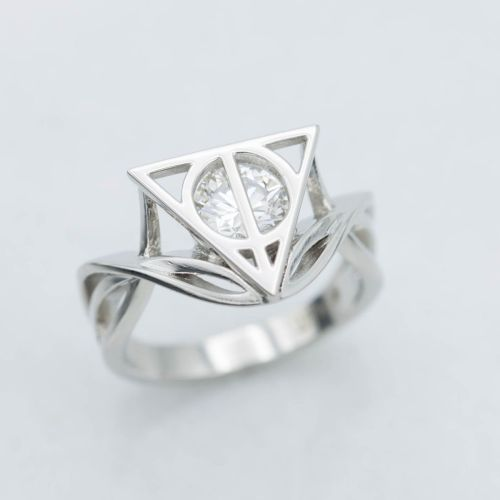 Sightly Vining Platinum Strands Deathly Hallows Geeky Engagement Rings Nerdy Wedding Bands This Harry Engagementring Balance B Ring Symbol