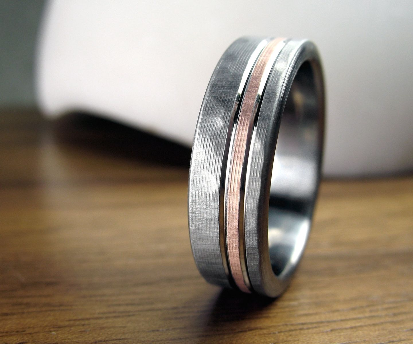 mens rose gold wedding rings tungsten hammered wedding band Mens rose gold wedding rings A Hand Crafted Personalized Titanium Rose Gold Hammered Men S