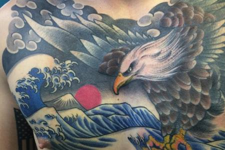 color eagle tattoo design on chest