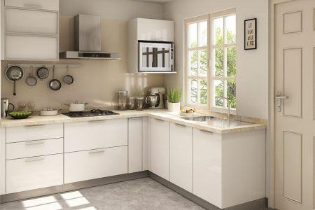 white modern l shaped kitchen design