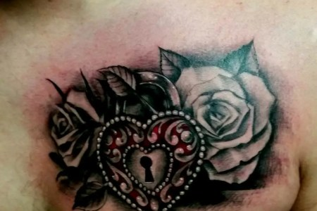 heart locket with rose tattoo