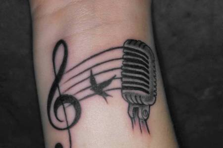 music tattoo design on wrist