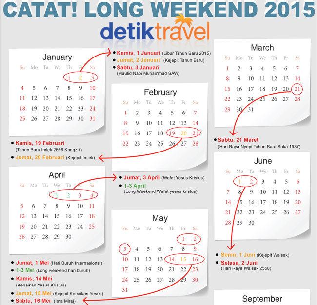 Januari: 1 – 3 Januari, tapi tanggal 2 Januari hari kejepit.