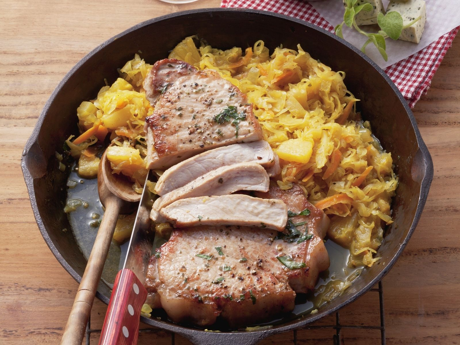Incredible Pork Chop Pineapple Sauerkraut Recipe Eater Pineapple Pork Chops Recipe Easy Pineapple Pork Chops Pinterest nice food Pineapple Pork Chops