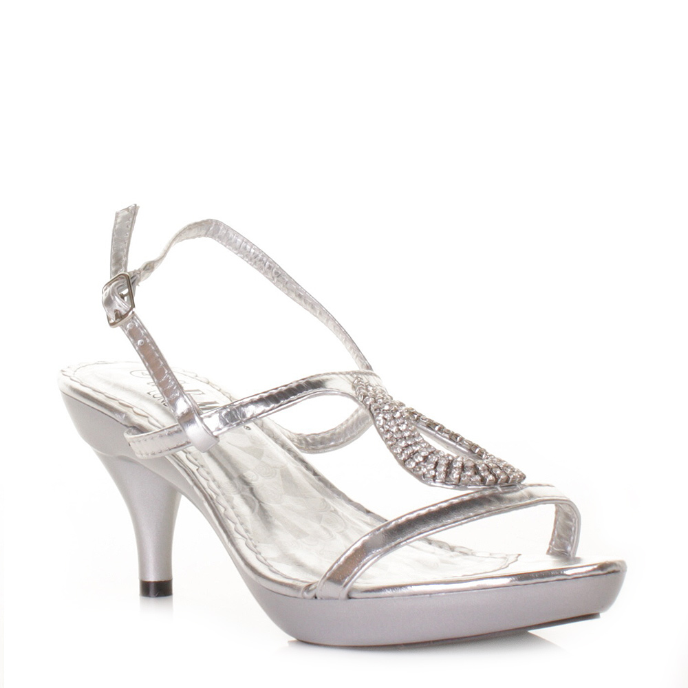 cheap wedding shoes WOMENS LADIES LOW HEEL SILVER STRAPPY SLINGBACK PROM WEDDING SHOES SIZE 3 8