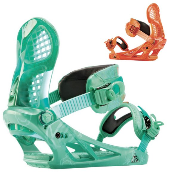 K2 Hurrithane Snowboard Bindings 2012 in Teal Orange