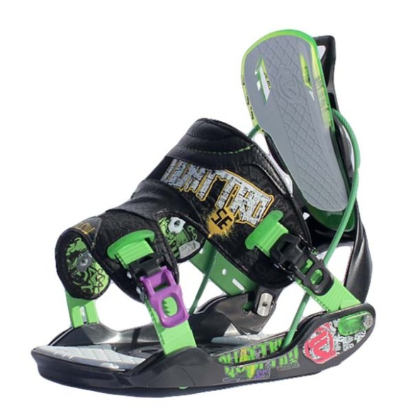 Flow Quattro SE Snowboard bindings 2012 in Black Green Size Medium