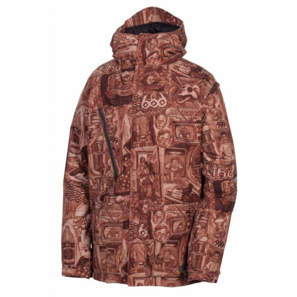 686 LTD Blind Anniversary Mens Snowboard Jacket Rust Large New Sample 2013