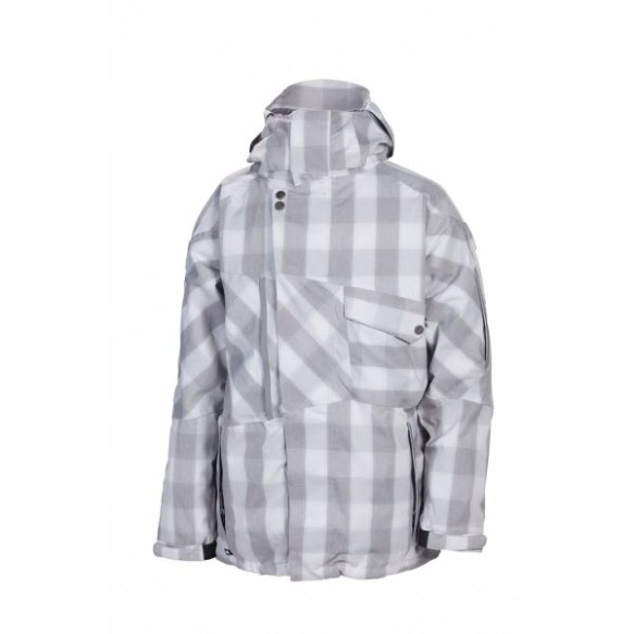686 Smarty Phaser Mens Insulated Snowboard Jacket Grey Check New 2013