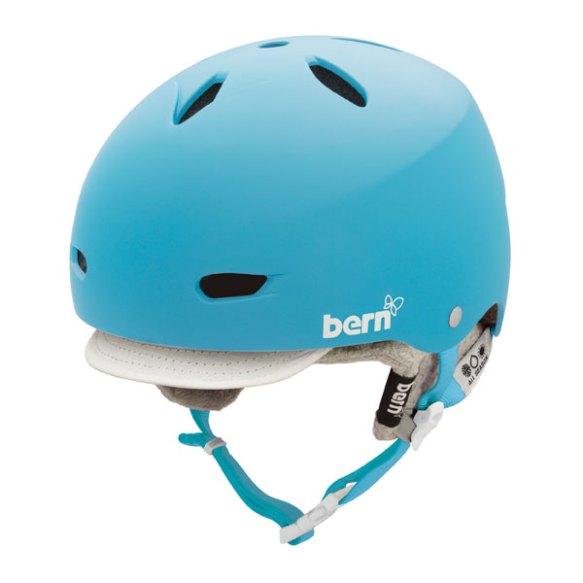 Bern EPS Helmet Womens Brighton Snowboard Ski 2013 in Matte Cyan Grey Visor Knit