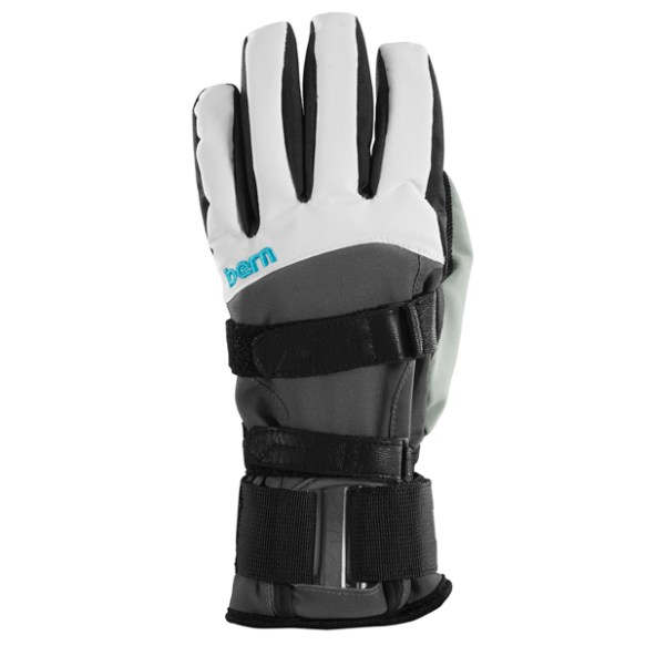 Bern Women's White Grey synthetic gloves with removable wrist guard 2014
