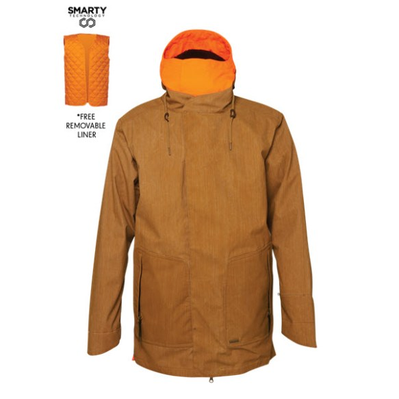 686 Parklan Smarty Duffel Snowboard Jacket Duck Scratch Denim Large Sample 2015