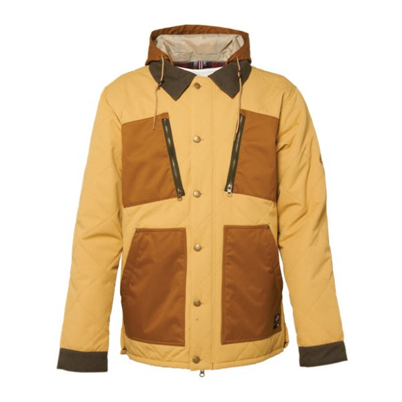 686 Dickies Miner Snowboard Jacket Sand Herringbone Dobby Large Sample 2015