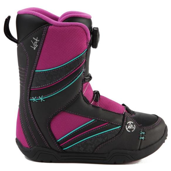 K2 Kat Kids Snowboard Boots 2015 in Black UK 4