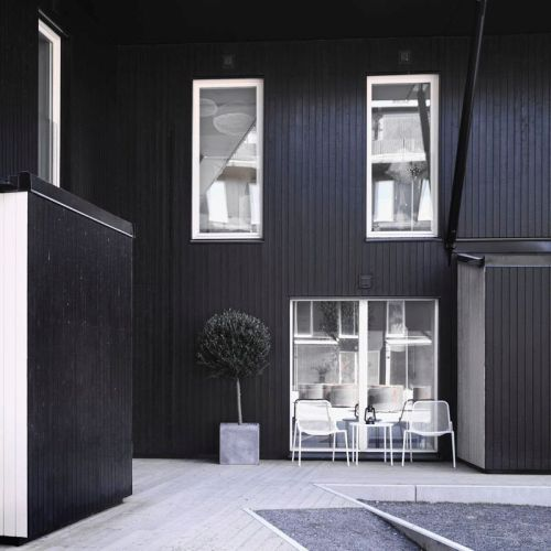 Fachada exterior de la casa estilo nórdico