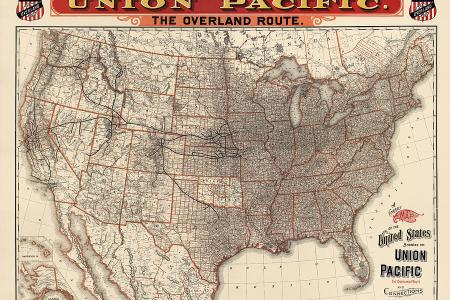 antique railroad map of the united states union pacific