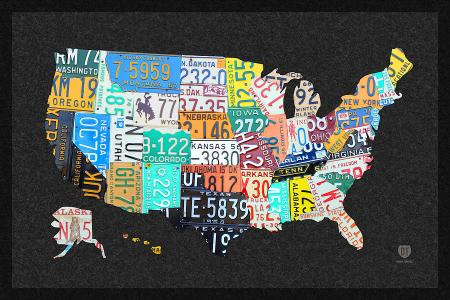license plate map of the united states on gray felt with