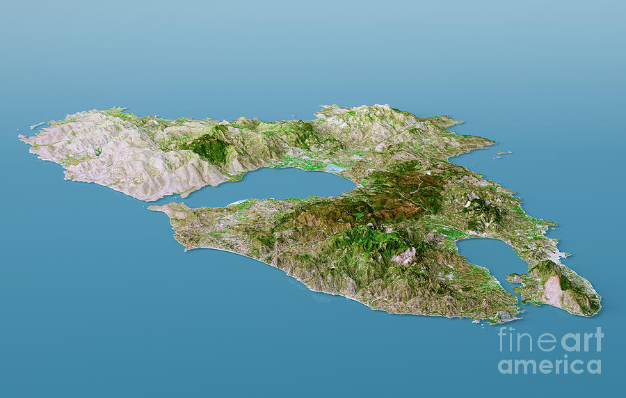 Lesbos Island Topographic Map 3d Landscape View Natural Color     Lesbos Digital Art   Lesbos Island Topographic Map 3d Landscape View  Natural Color by Frank Ramspott