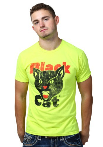 Black Cat Neon Yellow Mens Shirt