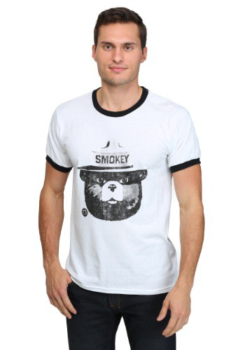 Smokey the Bear Black & White Men's Ringer T-Shirt