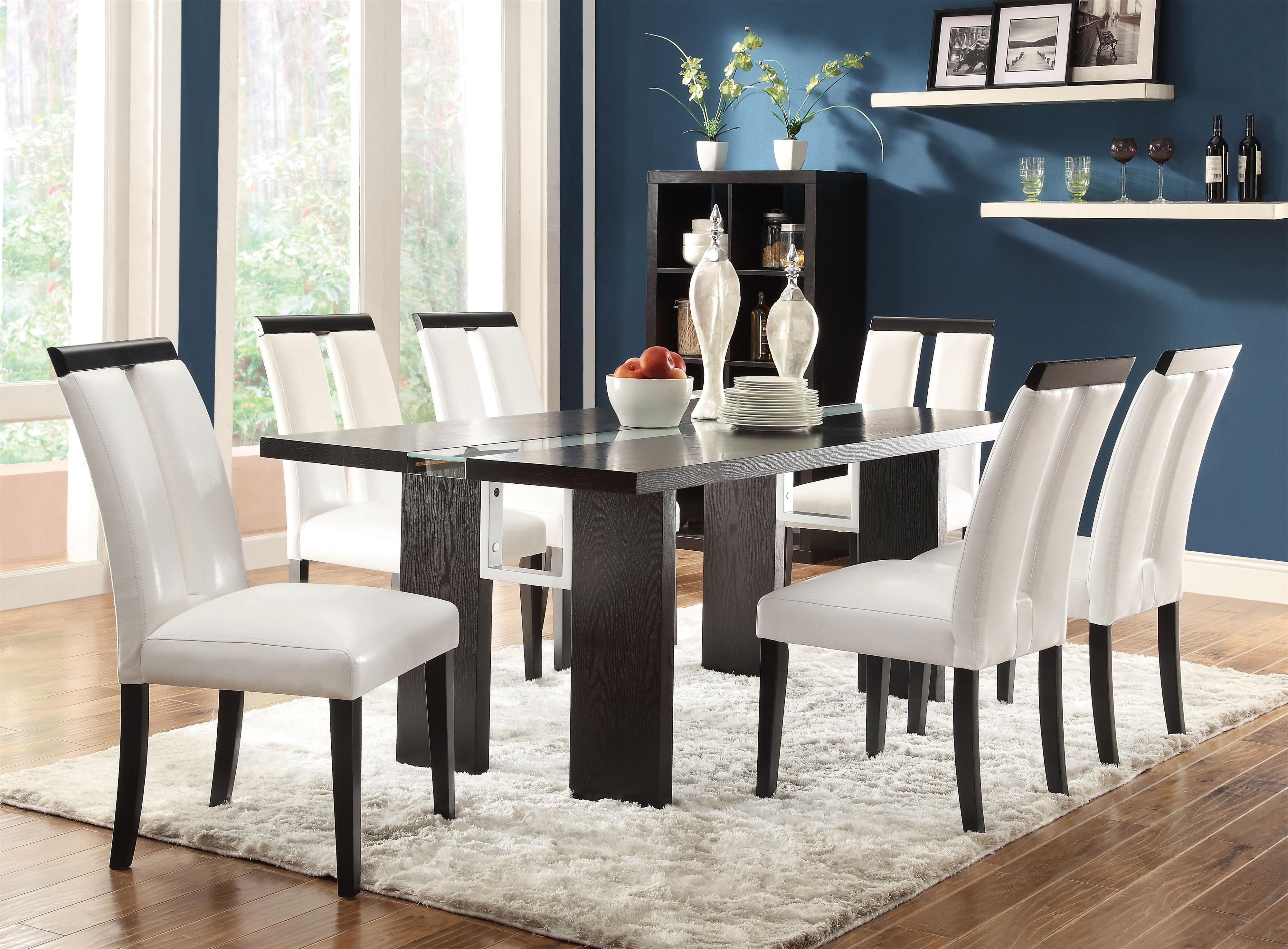 rectangle kitchen table Coaster Kenneth Rectangular Dining Table with LED Light Coaster Fine Furniture