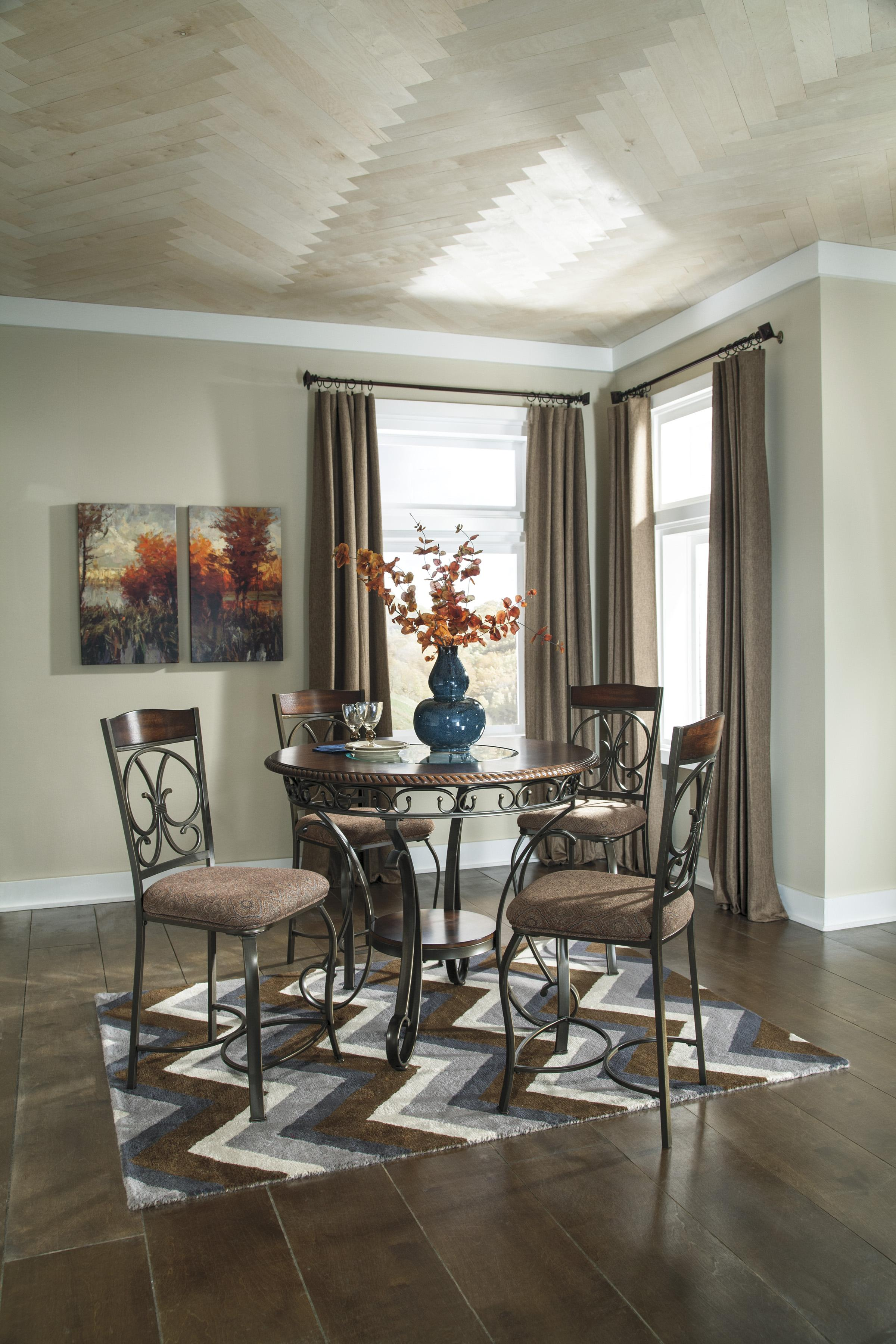 round kitchen table sets Signature Design by Ashley Furniture Glambrey Round Dining Table and 4 Chair Set with Metal Accents Sam s Appliance Furniture Dining 5 Piece Set