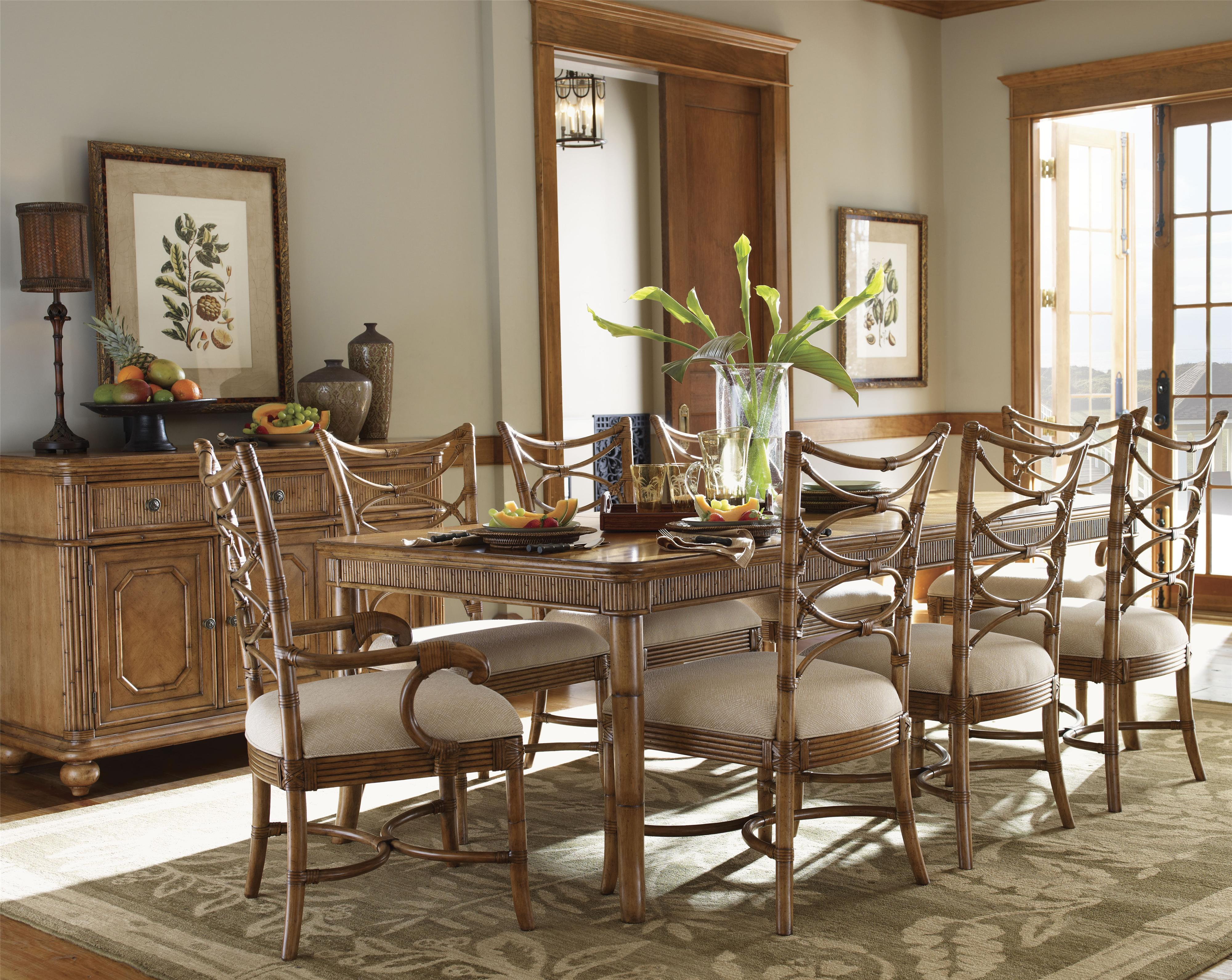 beachy kitchen table Tommy Bahama Home Beach House Leather Wrapped Bent Rattan Hexagonal Coral Springs Accent Table Belfort Furniture End Tables