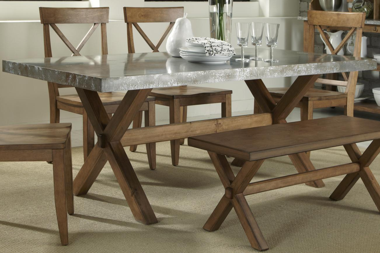 metal kitchen table Liberty Furniture Keaton Rectangle Trestle Table Item Number T