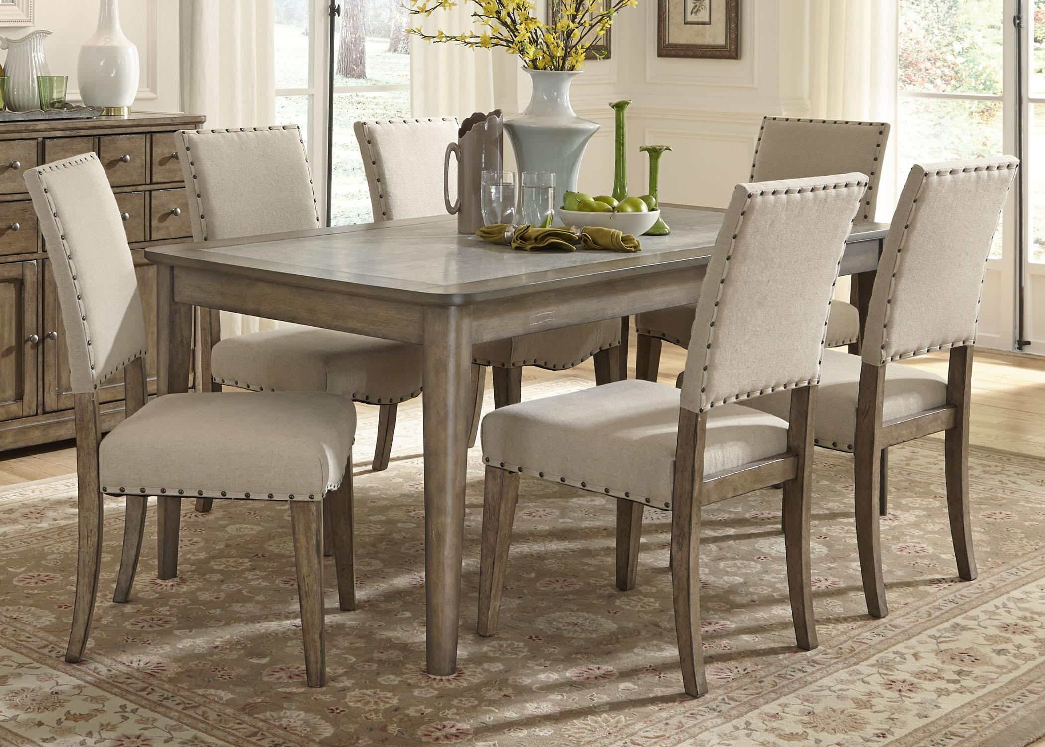 gray kitchen table Liberty Furniture Weatherford 7 Piece Dining Table and Chairs Set Item Number