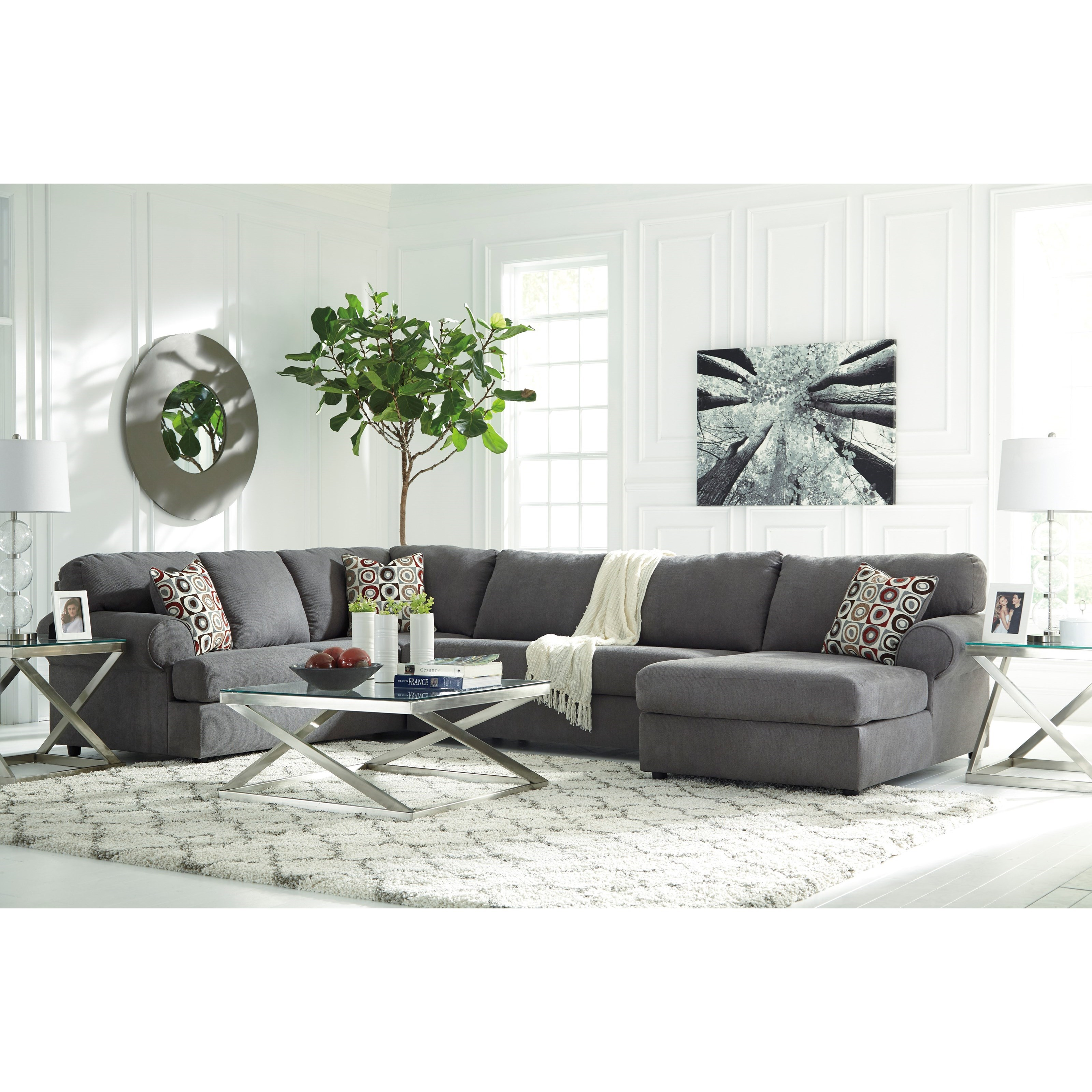 furniture ashley vista chocolate casual 3 piece sectional with of opelousas la 2 4